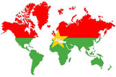 World map background with Burkina Faso flag isolated. — Stock Photo