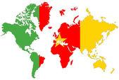 Dünya harita arka izole kamerun bayrağı ile. — Stok fotoğraf