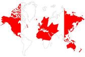 World map background with Canada flag isolated. — Foto de Stock