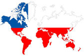 World map background with Chile flag isolated. — Stock Photo