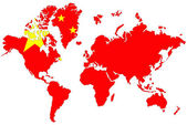 Wereld kaart achtergrond met china vlag geïsoleerd. — Stockfoto