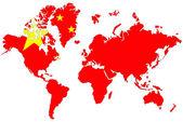 Fondo de mapa mundial con bandera china aislado. — Foto de Stock