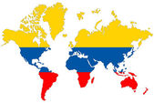 World map background with Colombia flag isolated. — Stock Photo