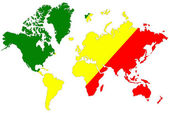 World map background with Congo flag isolated. — Foto de Stock