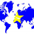 Stock Photo: World map background with Democratic rep Congo flag isolated.