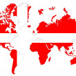 Stock Photo: World map background with Denmark flag isolated.