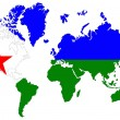 World map background with Djibouti flag isolated. - Stock Photo