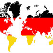 World map background with Germany flag isolated. — 图库照片