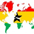 Royalty-Free Stock Photo: World map background with Ghana flag isolated.