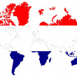 World map background with flag. — Foto Stock
