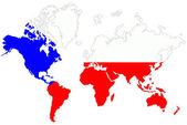World map background with Czech Republic flag isolated. — Stock Photo