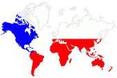 Welt kartenhintergrund mit tschechien flagge isoliert. — Stockfoto