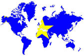 World map background with Democratic rep Congo flag isolated. — Stock Photo
