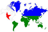 World map background with Djibouti flag isolated. — Stock Photo