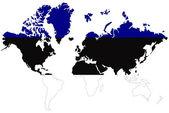 Wereld kaart achtergrond met estland vlag geïsoleerd. — Stockfoto