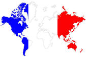 World map background with France flag isolated. — Stock Photo
