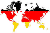 World map background with Germany flag isolated. — Stock Photo