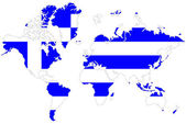 World map background with Greece flag isolated. — Stock Photo