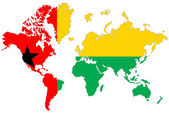 World map background with Guinea Bissau flag isolated. — Stock Photo