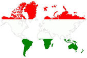 World map background with Hungary flag isolated. — Stock Photo
