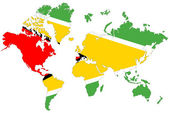 World map background with Guyana flag isolated. — Stock Photo