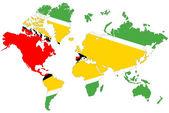 World map background with Guyana flag isolated. — Stock Photo