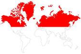 Welt kartenhintergrund mit indonesien-flagge isoliert. — Stockfoto