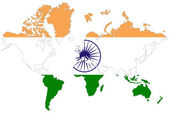 World map background with India flag isolated. — Foto de Stock