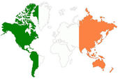 World map background with Ireland flag isolated. — Stock Photo