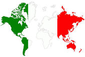 World map background with Italy flag isolated. — Stock Photo