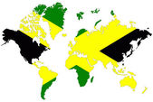 World map background with Jamaica flag isolated. — Stock Photo