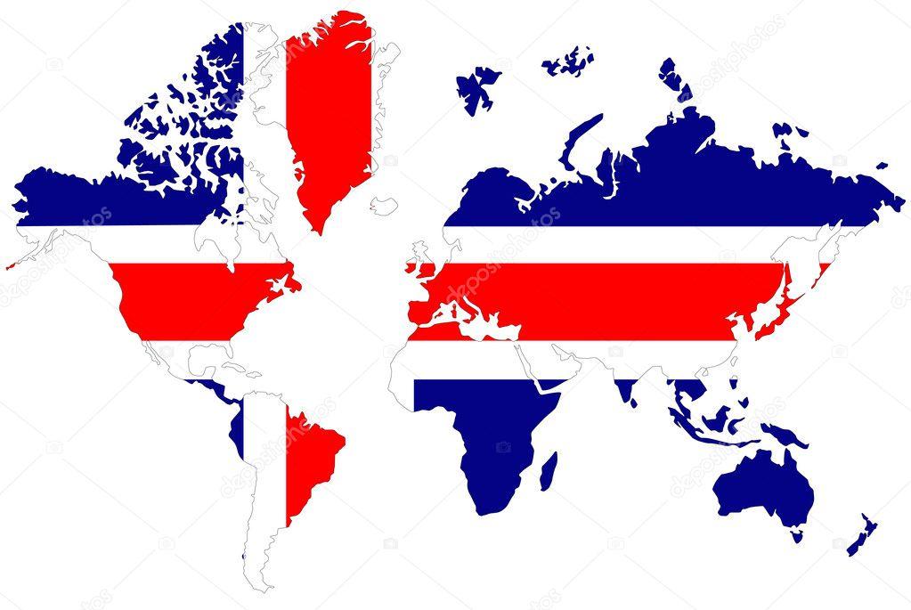 世界地图背景与冰岛国旗隔离
