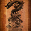 Chinese style dragon statue on the wood texture. - ストック写真