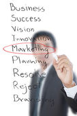 Businessman write Marketing word. — Stock Photo