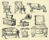 Old times-original hand drawn set — Stock Vector