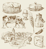 Village houses sketch with food — Vector de stock