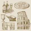 Hand drawn italian set - Image vectorielle