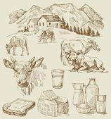 Farm - hand drawn set — Stock Vector