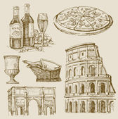 Hand drawn italian set — Stock Vector