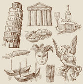 Hand drawn Italy set — Stock Vector