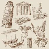 Hand drawn Italy set — Stock Vector