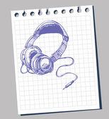 Head phones sketch — Stock Vector