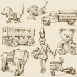 Antique toys-original hand drawn collection - Stock Vector