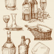 Royalty-Free Stock Vector Image: Wine hand drawn collection