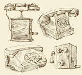Telephones hand draw — Stock Vector