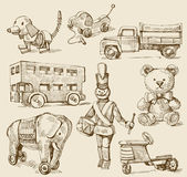 Antique toys-original hand drawn collection — Vector de stock