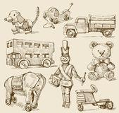 Antyczne zabawki oryginalne ręcznie rysowane kolekcja — Wektor stockowy