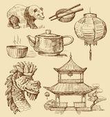 Set of China hand-drawn icons — Stock Vector