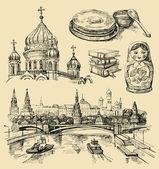 Conjunto de iconos dibujados a mano de rusia — Vector de stock