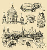 Set of Russia hand-drawn icons — Stok Vektör